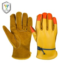 Wholesale PU back yellow split cowhide leather safety work gloves