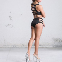 custom sexy black strappy sports bra booty shorts pole dance wear swimwear active wear