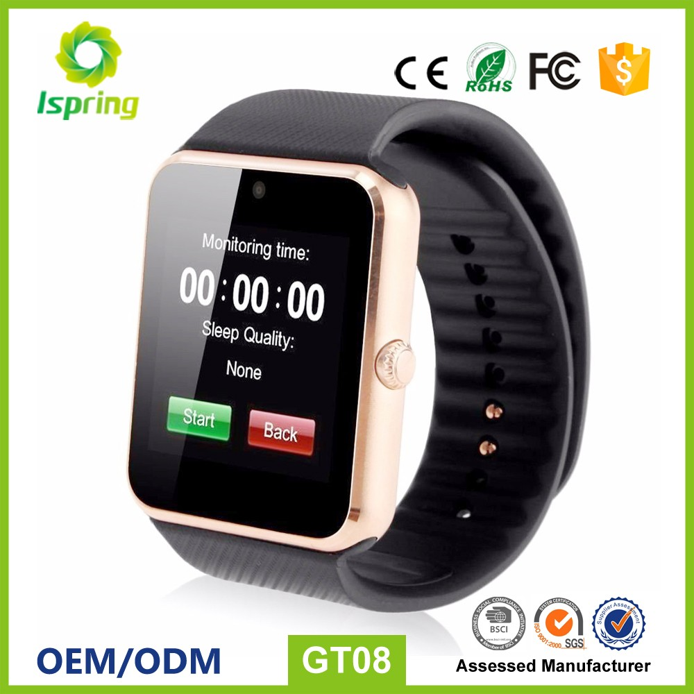 2017 newest gt 08 smart watch,sublimation blank watch gv08,odm watch passed ce fcc rohs