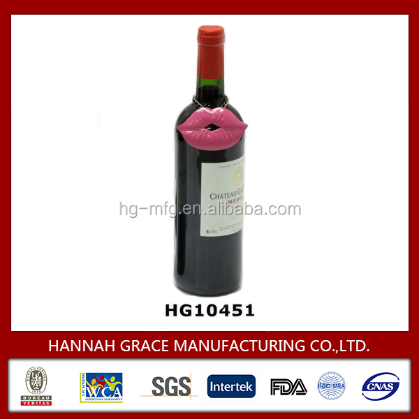 Decorative Metal Lip Wine Charm