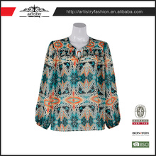 Fashion new arrival Lady Women's colorful sexy models chiffon printed blouse