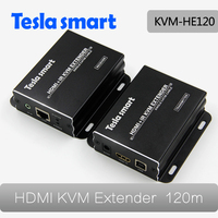 Tesla Smart HDMI KVM Extender by IP/LAN Over Ethernet Over Single Cat5e Cat6 Cable Up to 395ft(120m) with IR