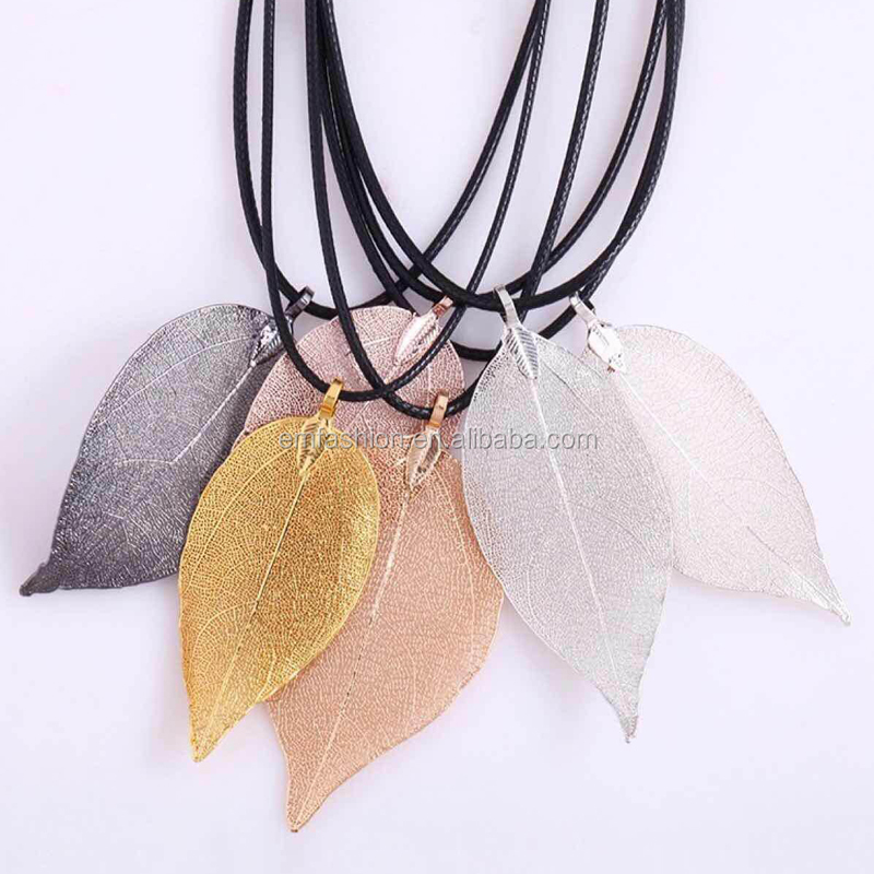 9 Colors Available Fashion Women Gold Natural Real Leaf Pendant <strong>Necklace</strong>