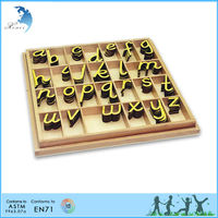 Montessori Educational Gift Item Wooden Teaching EN71 Language Series Toys for Kids Small Movable Alphabet D'Nealian -Yellow