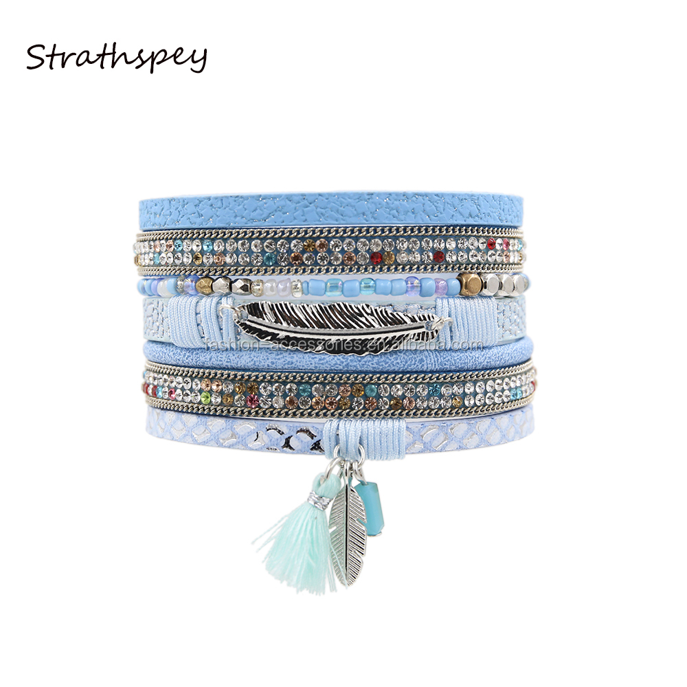 Fashion Smart Women Multi Rows Metal Leaf Colorfully Rhinestone Cotton Tassel Magnetic Leather Charm Bracelet Wholesale