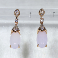 SJ Jewelry Shop Online YE5013(3) Delicate Women Environmental Brass Good Cut CZ Rose Gold Plated Man-Made Pink Crystal Earring