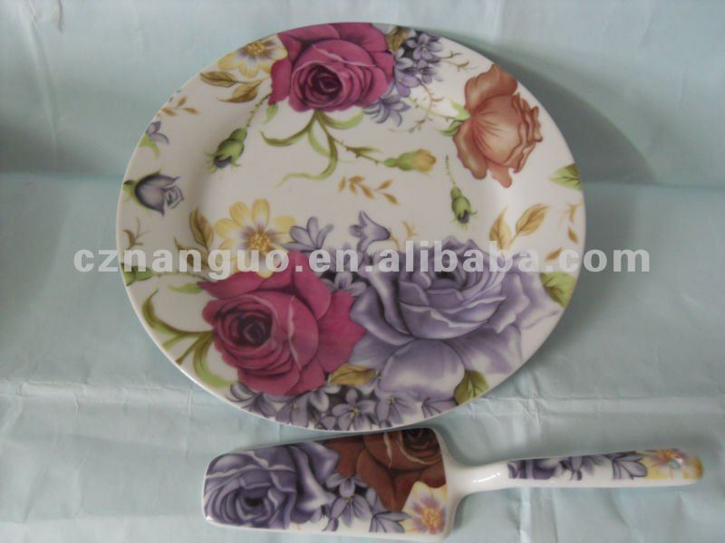 porcelain cake plate and dishes with spoon flower design