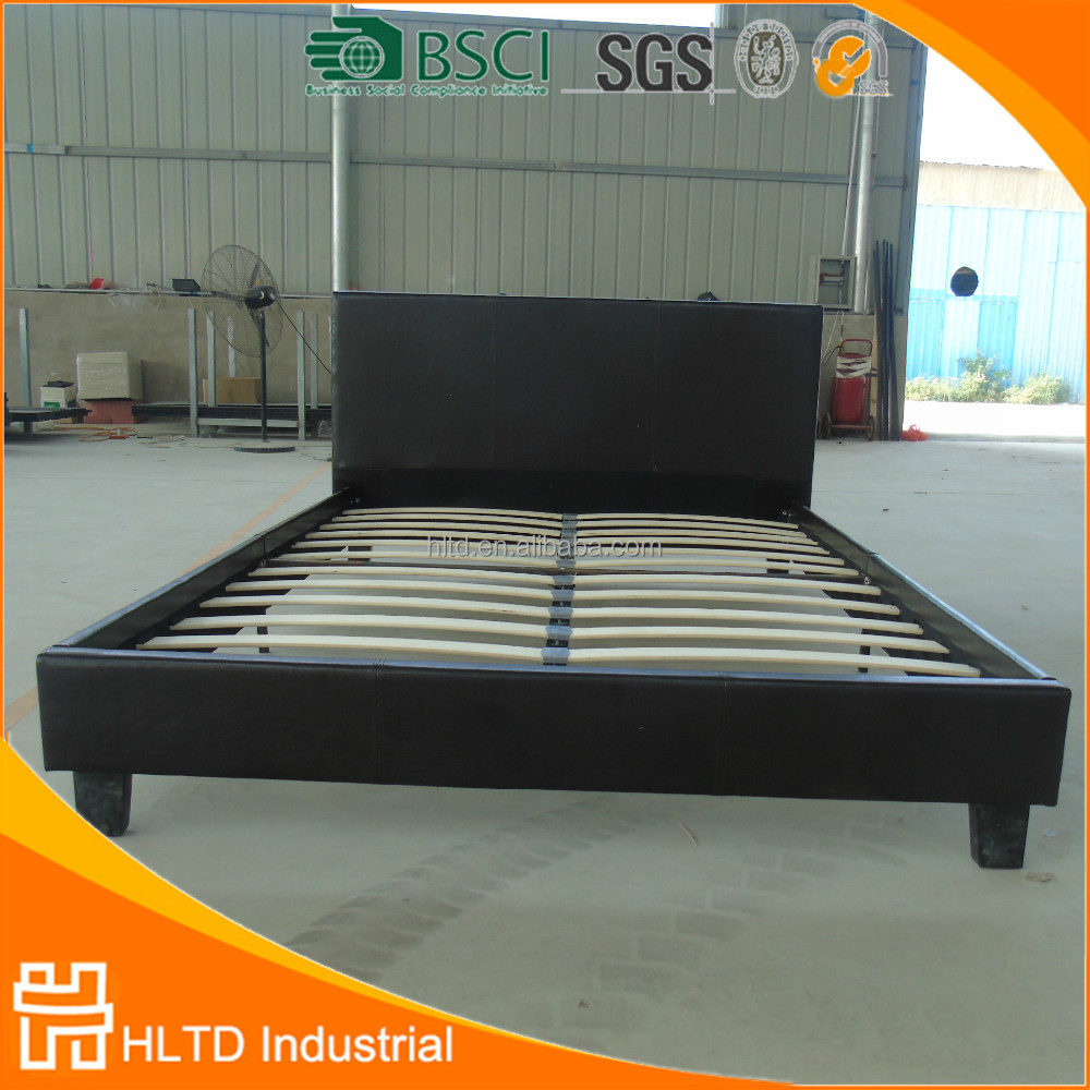 Hostel furniture cheap bed pu double bed leather platform for Cheap double beds