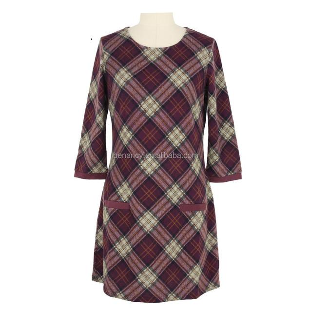 XXXL Plus Size Clothing Mid-aged Women Check Print Dress