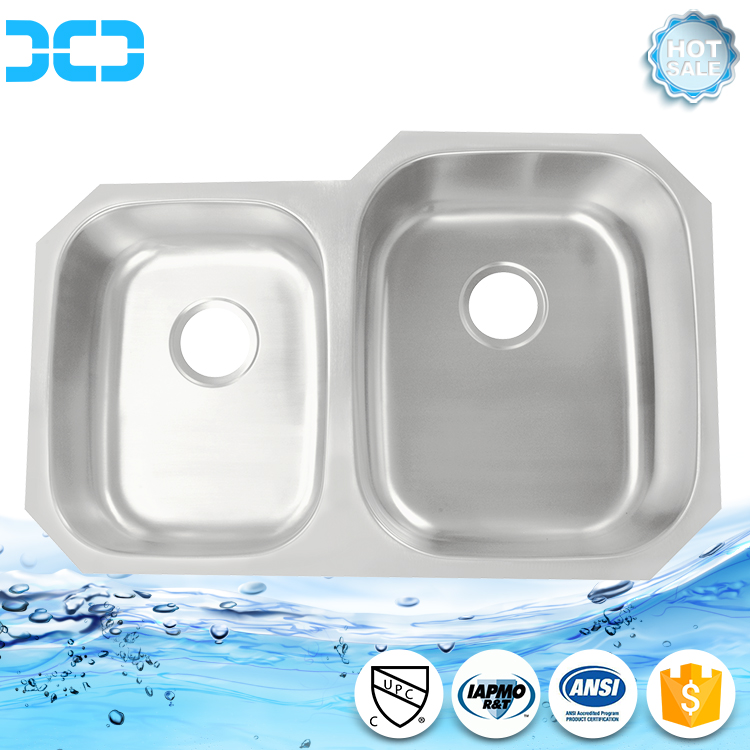 square double bowl stainless steel kitchen sink