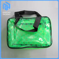 High quality zipper top pvc cosmetic pouch with handles/sewing pvc travelling bag