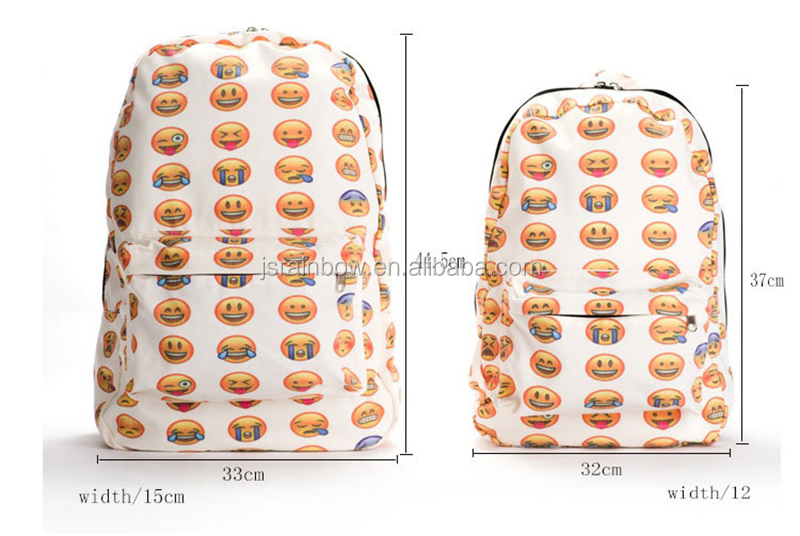 Fashion canvas school emoji backpack bag
