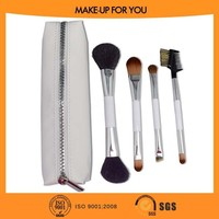 4pcs Two Sides Make up Brush Sets With White Zipper Case Cosmetic Brush Sets