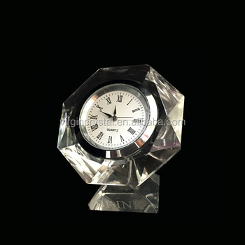 Optical Crystal Engraved Table Promotional Crystal Clock Decoration