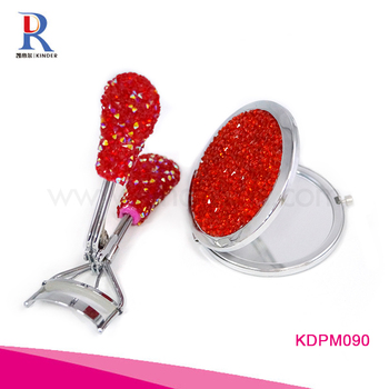 Factory direct wholesale Round Compact Mirror With Eyelash Curler sparkle rhinestone metal compact mirror