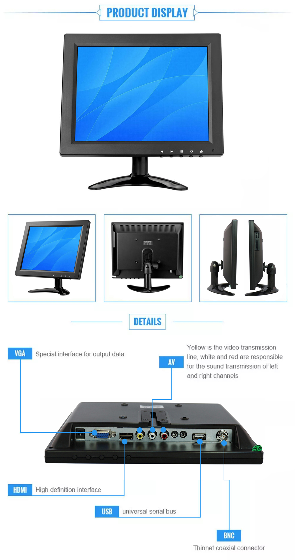"9"" 10"" cctv monitor with bnc input 1024*768 HD IPS monitor"