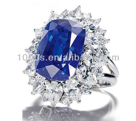 Hot sale 925 sterling silver luxury sapphire diamond ring