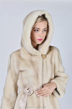 Women white mink fur coat for girls