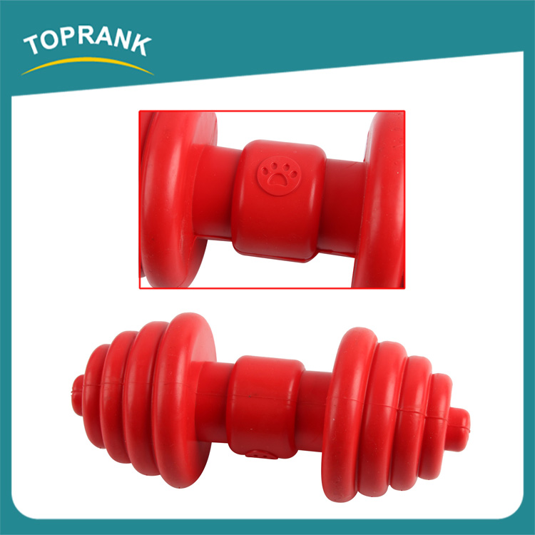 Small fitness equipment pet toys TPR rubber barbell dog toy