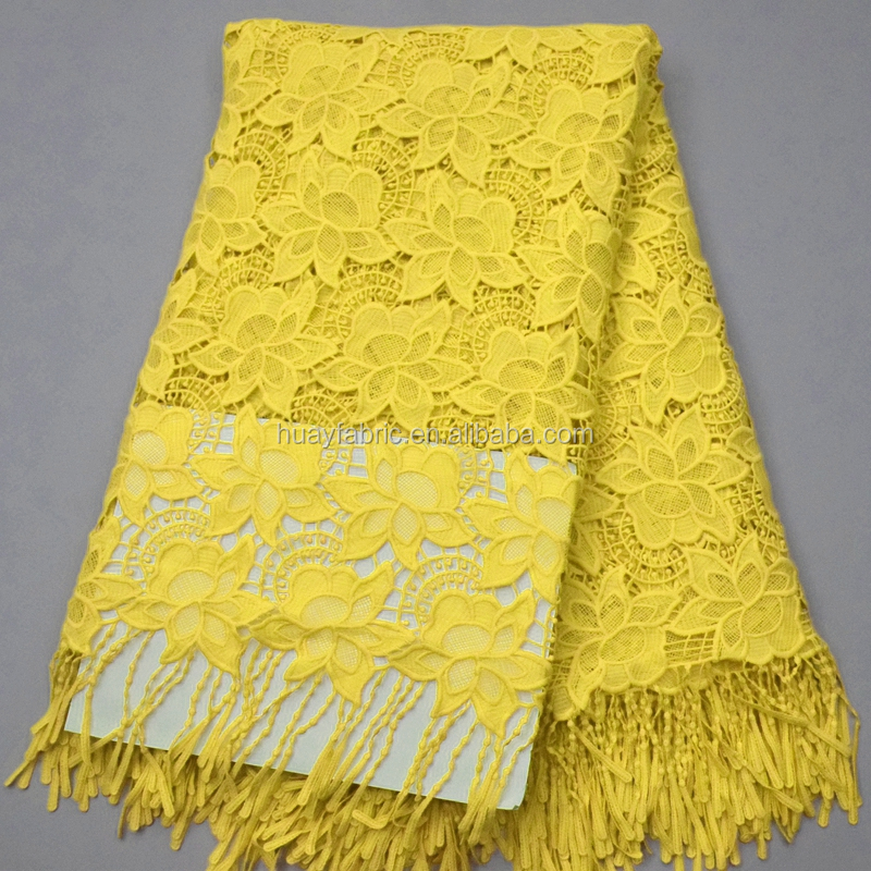 Top grade heavy guipure lace fabric Yellow african lace fabric nigeria laces HY0247-1