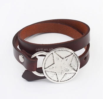 Antique Silver Star Charm Leather Wrap Bracelet Boho Leather Wrap Bracelet Custom Charm Leather Bracelet