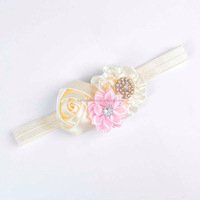 18 colors cute infant rose flower elastic headbands with beads for sale