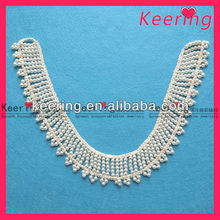 beaded pearl hand-crocheted hook neckline trim for garment WSG-019