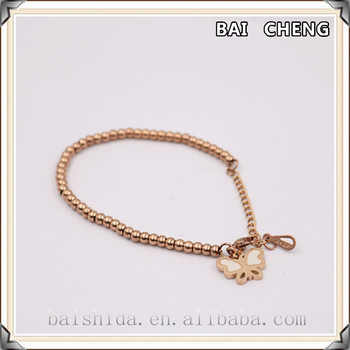 Rose Gold Bead and Butterfly Shape Pendant with shell inlay stainless steel Bracelet