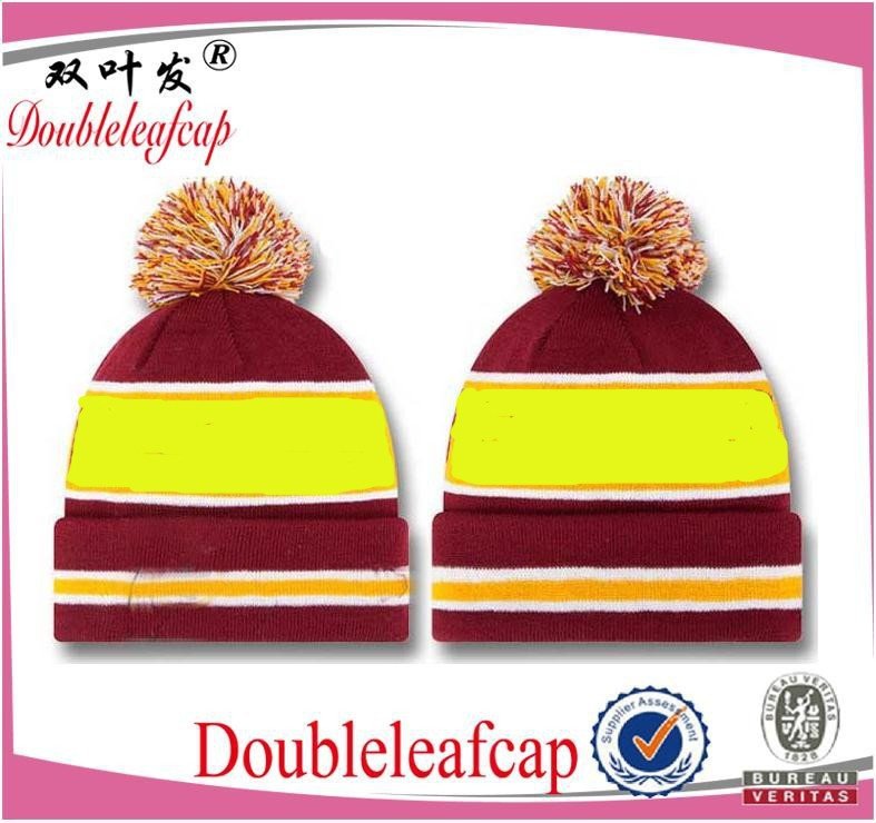 Multi-color Free Knitting Pattern Hat Beanie/superior quality stylish beanie hat with pompom