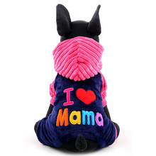 Autumn Winter Pet Dog Clothes Warm Dog Coat Hoodies I Love Papa Mama Puppy Chihuahua Costume Clothing