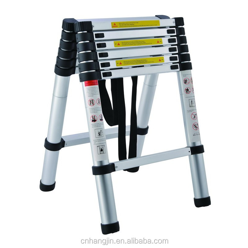 Free standing 2m telescopic double sided ladder / telescopic stepladder /extension ladder with stabilizer