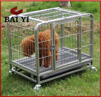 Metal square steel tube dog cage with wheels