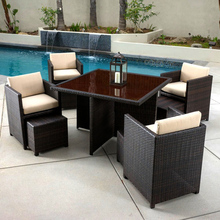 Modern garden cebu rattan dining table set furniture