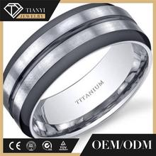 8mm Men's cnc Two-Tone Comfort Fit Titanium Wedding Band Ring .matting dull silver polished. custom jewellery