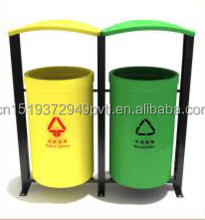 Outdoor Iron Trash Can 2 Compartment Barrel Trash Can Outdoor Green Dustbin Cast Iron Waste Bin