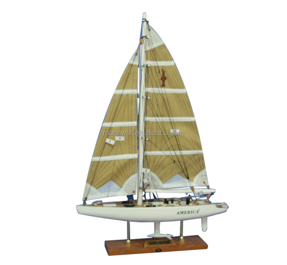 America3 Sailing Boat yacht scale model replica, Wooden Sail Boat Model Souvenir Clipper Model Nautical Gifts Decoration