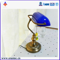CE Certification Vintage Banker Table Lamp Green With Blue Glass Lamp Chian Pull Switch Brass Metal for Marine