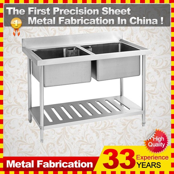 Kitchen Stainless Steel Sink Work Table with Under Shelf
