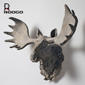 Beautiful African animal Deer Gray Head Bust Hanging Wall resin Sculpture