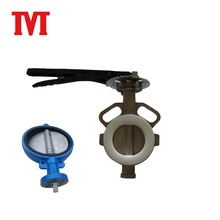 ss304 ptfe worm gear operated wafer type butterfly valve image with ss410