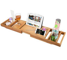 Natural Bamboo Bath Tub Caddy with Removable Serving Tray, Phone and Tablet Compartments, Spa Tray Shower Bath Tub