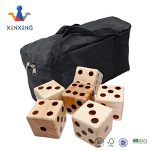 custom Giant Wooden Yard Dice for Jumbo Size Fun (Includes 6 Dice and Carrying Bag)3.5""