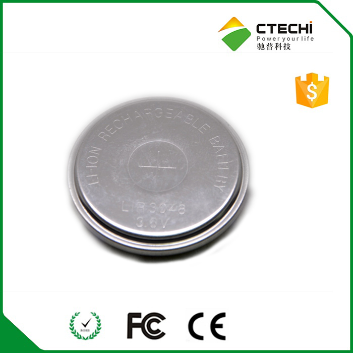 3.6V Li-ion rechargeable button cell LIR3048