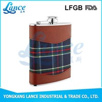 stainless steel liquor hip flask, insulated leather wine carrier BPA free