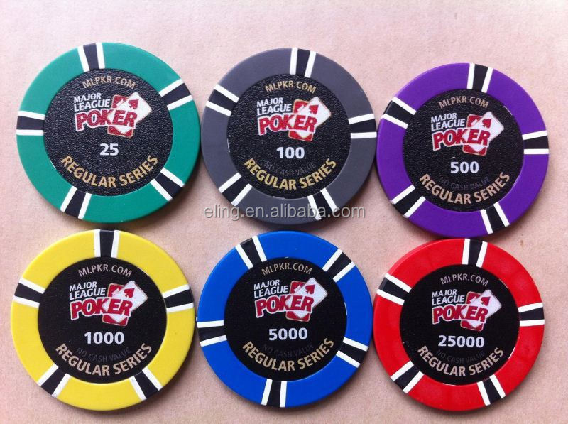 14 Gram Colorful Clay Poker Chips rosette satin table cloth