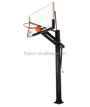 In-Ground Adjustable Black Basketball Goal with 60 Inch Backboard