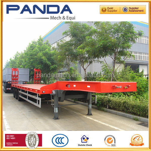 China compeitve price 3 axles low bed semi trailer for sale with rail and step-wise