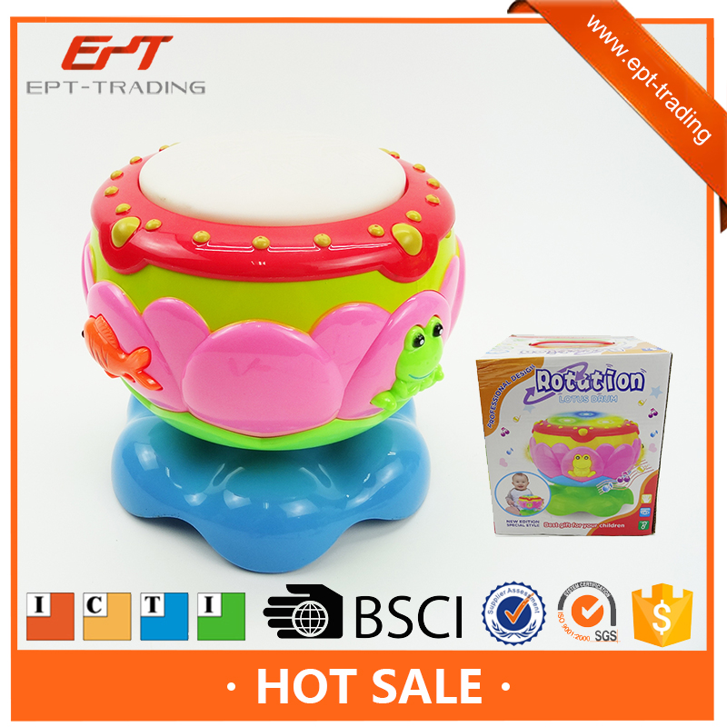 Electric intelligent baby musical rotation drum toy set with light