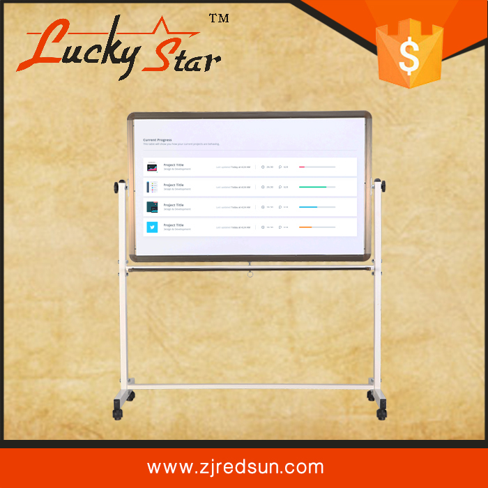 Double sided mobile magnetic interactive whiteboard with mobile display stand and wheels