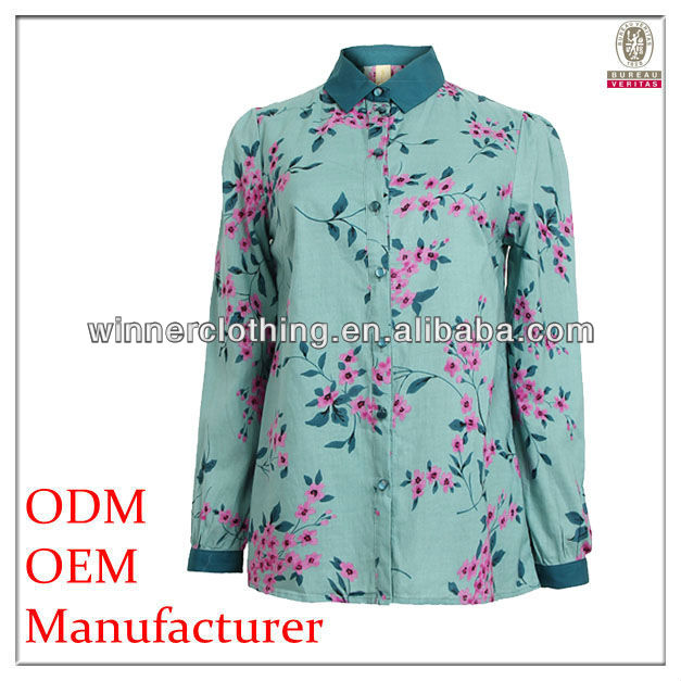 100% cotton long sleeve summer blouses for big size woman